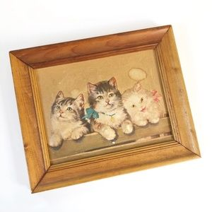 Vintage Textured Cat Print in Wood Frame